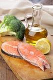 Raw salmon steaks stock photography