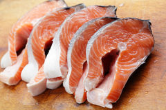 Raw salmon steaks Stock Photo