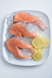 Raw salmon steaks Stock Photos