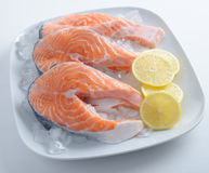 Raw salmon steaks Royalty Free Stock Images