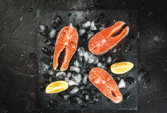 Raw salmon steaks on ice Royalty Free Stock Image
