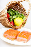 Raw salmon steaks with ingredients Royalty Free Stock Photos
