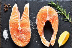 Raw salmon steaks Stock Images