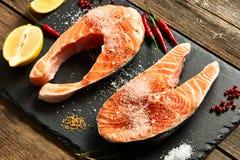 Raw salmon steaks Royalty Free Stock Photos