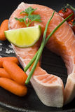 Raw salmon steaks with vegetables in the iron pan.  Stock Photos