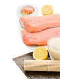 Raw salmon for suchi Stock Photo