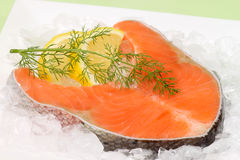 Raw salmon trout steak Royalty Free Stock Images