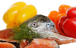 Raw salmon and vegetables. Stock Image
