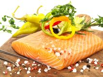 Raw Salmon with Vegetables - Fish Fillet stock images