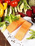 Raw Salmon with Vegetables royalty free stock photo
