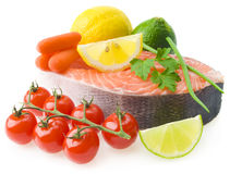 Raw salmon, vegetables and spices Stock Image