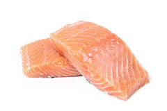 Raw salmon. On a white background Stock Image