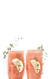 Raw salmon. On a white background Stock Photos