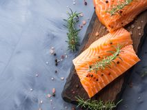 Raw salmon on wooden board with herbs. Raw salmon pieces on wooden board with herbs, salt and spices Royalty Free Stock Photography