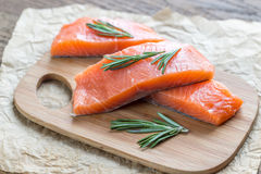 Raw salmon on the wooden board Stock Photo