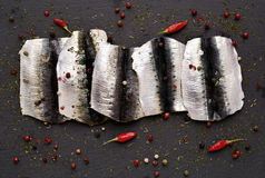 Raw sardine fillets Royalty Free Stock Image