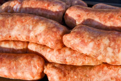 Raw sausage. Close-up image of spicy raw sausages Stock Photography