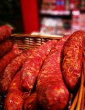Raw sausage.  Artistic look in vivid colours. Stock Photography