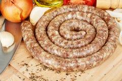 Raw sausage Stock Photography