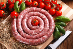 Raw sausage with fennel seeds Royalty Free Stock Photo