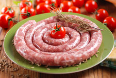 Raw sausage with fennel seeds Stock Photography