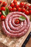 Raw sausage with fennel seeds Stock Photo