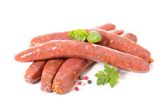 Raw sausage. Isolated on white Royalty Free Stock Photography