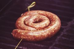 raw sausage links prior to cooking royalty free stock image