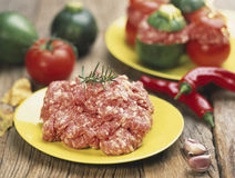 Raw sausage meat Stock Photos