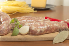 Raw sausage in the shell Royalty Free Stock Image