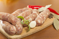 Raw sausage in the shell Royalty Free Stock Photo