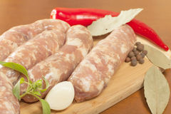 Raw sausage in the shell Royalty Free Stock Photography
