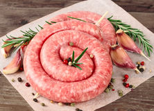 Raw sausage Stock Photography