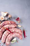 Raw sausage with spices Royalty Free Stock Photo