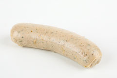 A raw sausage. With white background Royalty Free Stock Photography