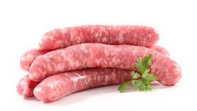 Raw sausage. On white background Royalty Free Stock Photos