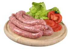 Raw sausages Stock Images