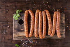 Raw sausages for BBQ Stock Photo