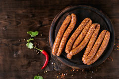 Raw sausages for BBQ Royalty Free Stock Images