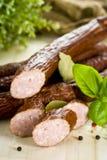 Raw sausages close up. Spiced Raw sausages close up stock photos