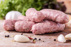 Raw Sausages Stock Photos