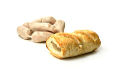 Raw Sausages and Sausage Roll Stock Image