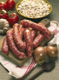 Raw sausages to be grilled Royalty Free Stock Images