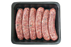 Raw Sausages on Tray Isolated Stock Photo