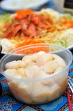 Raw scallops and raw fish salad Royalty Free Stock Image