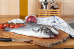 Raw sea bass Royalty Free Stock Photography