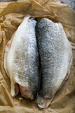 Raw sea bass fillets. Shot on parchment paper Stock Photo