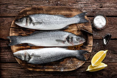 Raw sea bass fish. Fresh raw sea bass fish on wooden cutting board cooking concept on a dark wooden background top view Stock Images