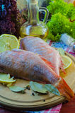Raw sea bass. Ready for healthy cooking Stock Images