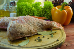 Raw sea bass. Ready for healthy cooking Royalty Free Stock Photos